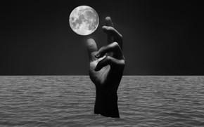 Картинка море, луна, рука, ремейк