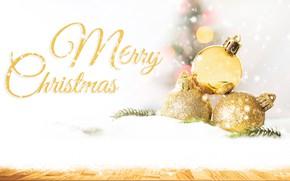 Картинка снег, фон, праздник, рождество, боке, bokeh, декор, xmas