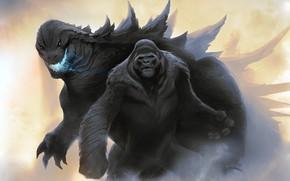 Картинка King Kong, Рисунок, Кинг Конг, Годзилла, Арт, Art, Godzilla, Kong, by Nikolay Toshev, Godzilla vs …