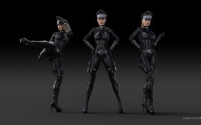 Картинка девушка, форма, кепка, чёрный фон