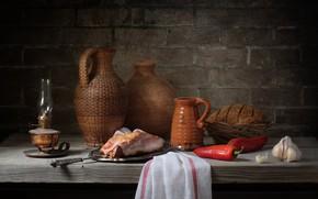 Картинка хлеб, мясо, перец, чеснок