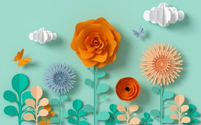Картинка цветы, стиль, бумага, фон, голубой