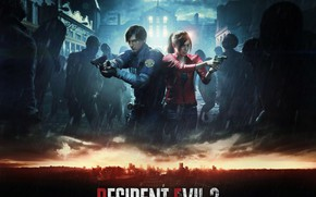 Картинка Оружие, Зомби, Game, Capcom, Leon Kennedy, Raccoon City, Claire Redfied, Resident Evil 2 (2019)