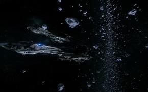 Картинка космос, астероиды, космический корабль, Star Citizen