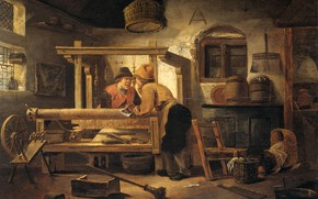 Картинка масло, интерьер, картина, 1659, Cornelis Gerritsz Decker, Корнелис Герритс Декер, Ткацкая мастерская