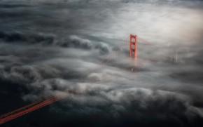 Картинка пейзаж, мост, туман
