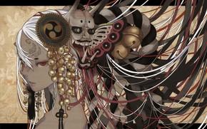Картинка Девушка, Взгляд, Колокольчики, Украшения, Маска, Демон, nanahara shie
