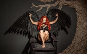 Обои wings, model, chair, redhead, Георгий Дьяков