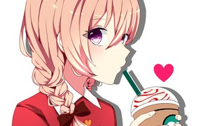 Картинка девушка, стакан, коктейль, трубочка, by 萌