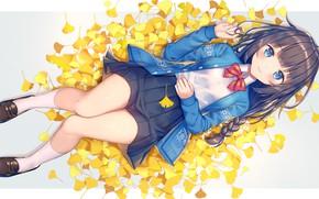 Картинка осень, юбка, девочка, жёлтые листья