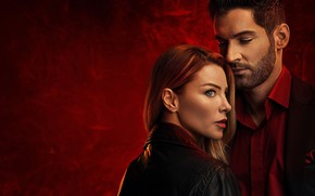 Картинка поза, сериал, телесериал, Lucifer, Tom Ellis, Люцифер, Lauren German, Лорен Джерман, Хлоя Декер, Том Эллис, …