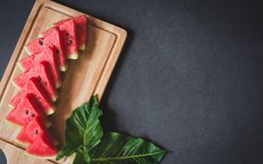 Картинка листья, арбуз, ягода, доска, дольки