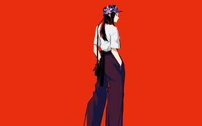 Картинка девушка, кепка, красный фон, Boku no Hero Academia, Моя геройская академия, Yaoyorozu Momo