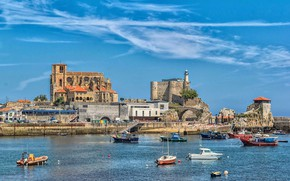 Картинка замок, бухта, церковь, Испания, Кантабрия, Кастро-Урдьялес