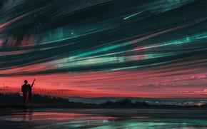 Картинка Девушка, Ночь, Рисунок, Звезды, Силуэт, Парень, Пара, Clouds, Stars, Art, Landscape, Galaxy, Sunset, Milky Way, ...
