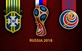 Картинка wallpaper, sport, logo, football, FIFA World Cup, Russia 2018, Brazil vs Costa Rica