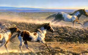 Картинка поле, рисунок, кони, картина, лошади, арт, бег, живопись, стадо, скакуны, стадо коней, мчатся, Nancy Glazier