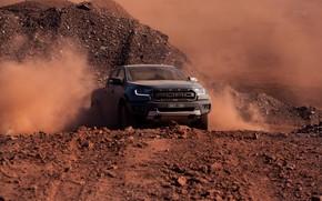 Картинка серый, движение, Ford, пыль, Raptor, пикап, 2018, Ranger