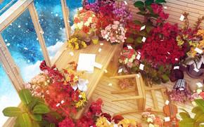 Картинка космос, цветы, комната, скрипка, стул, by K&P