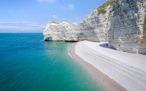 Картинка море, скала, Франция, Нормандия, Этрета
