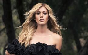Картинка взгляд, девушка, макияж, платье, блондинка, красотка, боке, Katherine McNamara