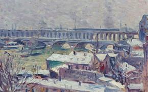 Картинка пейзаж, мост, дома, картина, Сена, Максимильен Люс, Maximilien Luce