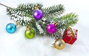 Картинка шары, елка, ветка, Рождество, Новый год, Christmas, New Year
