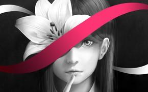 Картинка цветок, девушка, лилия, лента, bouno satoshi