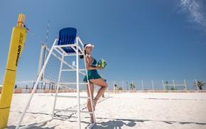 Картинка девушка, мяч, пляжный волейбол, Сергей Найбич