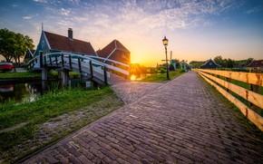 Картинка закат, Нидерланды, Zaanse Schans