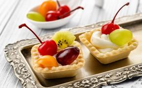 Картинка вишня, киви, виноград, крем, десерт, поднос, тарталетки