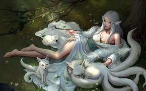 Картинка отдых, декольте, Japan, мундштук, кимоно, жрица, демонесса, на траве, босая, демон-лис, лисята, белый мех, kitsune, …