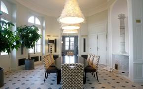 Картинка комната, интерьер, камин, столовая