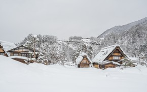 Картинка зима, снег, деревья, пейзаж, зимний, house, хижина, landscape, nature, beautiful, winter, snow, cottage