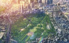 Картинка панорама, мегаполис, вид сверху, Kotonoha no Niwa, городской парк, Сад Изящных Слов, the Garden of …