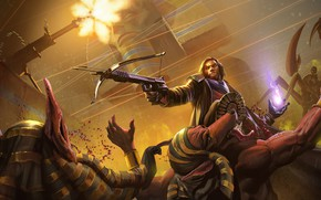 Картинка оружие, кровь, мужик, Project Warlock, египетские боги