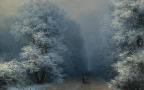 Картинка картина, аллея, Иван Айвазовский, Зимний Пейзаж