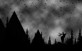 Картинка лес, горы, фон, олень, арт