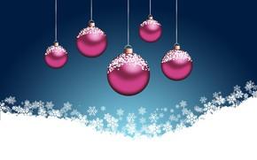 Картинка снежинки, шары, векторная графика