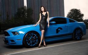 Картинка авто, взгляд, Ford, Девушки, азиатка, красивая девушка, стоит над машиной