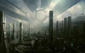 Картинка графика, Город, город будущего, Hi Tech, Town, Cities, искусства, Hi-Fi