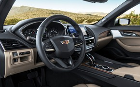 Картинка серый, Cadillac, приборы, руль, седан, четырёхдверный, 2020, CT5