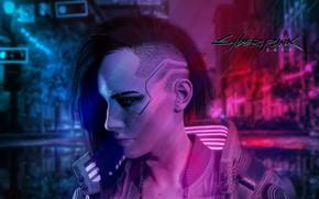 Картинка Девушка, профиль, Cyberpunk 2077, Woman Warrior