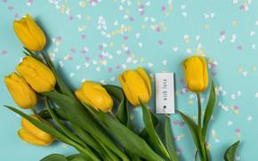Картинка фон, голубой, букет, желтые, сердечки, тюльпаны, композиция