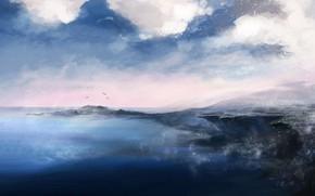 Картинка Море, Рисунок, Берег, Земля, Fantasy, Пейзаж, Art, landscape, Concept Art, by Katia Lin, Promenade Orc, …