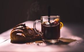 Картинка чай, еда, булка