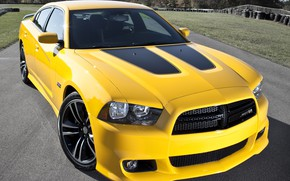 Картинка Yellow, Dodge Charger, Muscle car, Super Bee, SRT 8