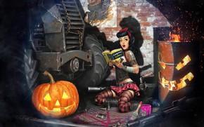 Картинка ситуация, арт, тыква, хэллоуин, Sergey Kondratovich, Post Apocalyptic pin up HELLOWEEN