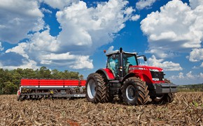 Картинка поле, небо, трактор, колёса, Massey Ferguson, сельскохозяйственная техника, сеялка, противовес, красный трактор, Massey Ferguson 8670