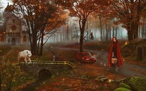 Картинка лес, девушка, волк, сказка